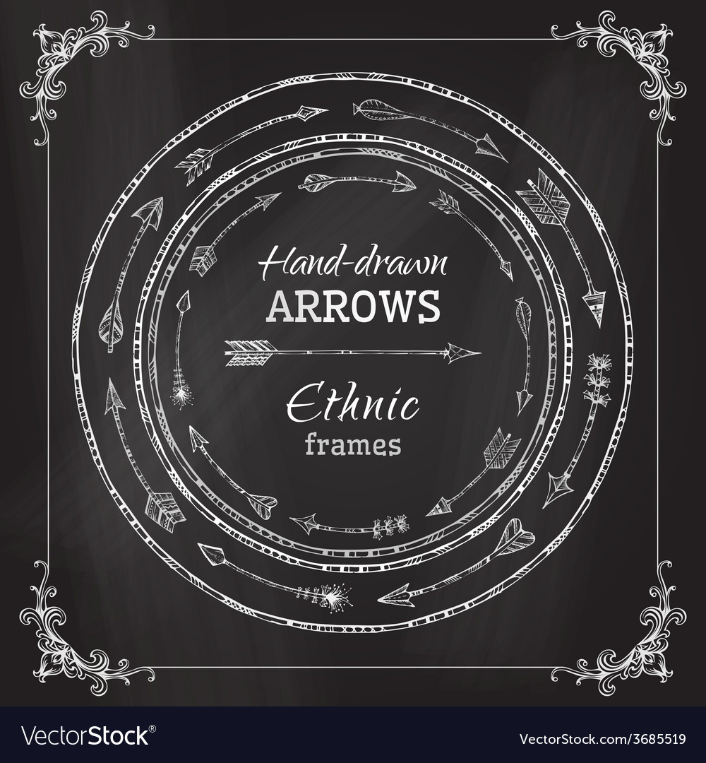 Chalk round frames of ethnic arrows vector