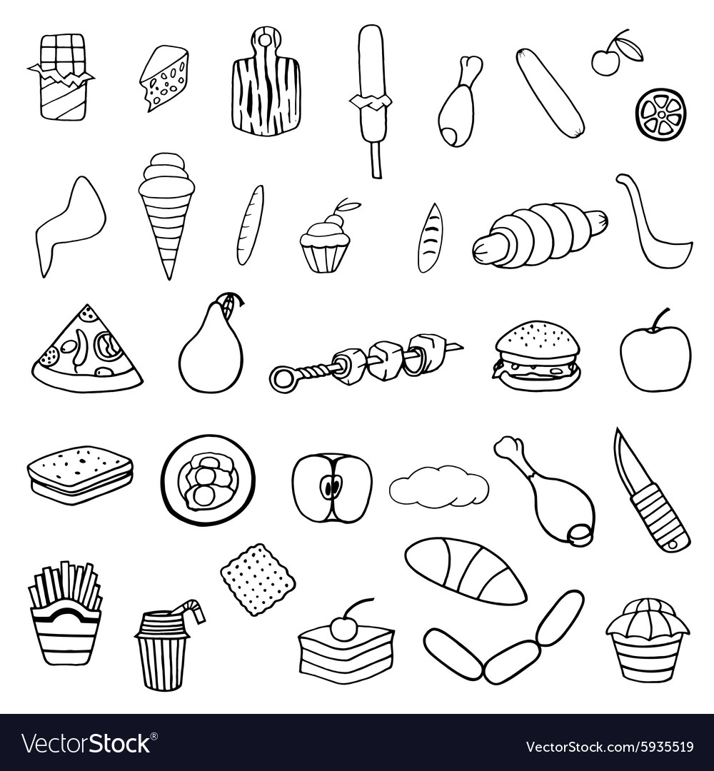 Set of food theme vector