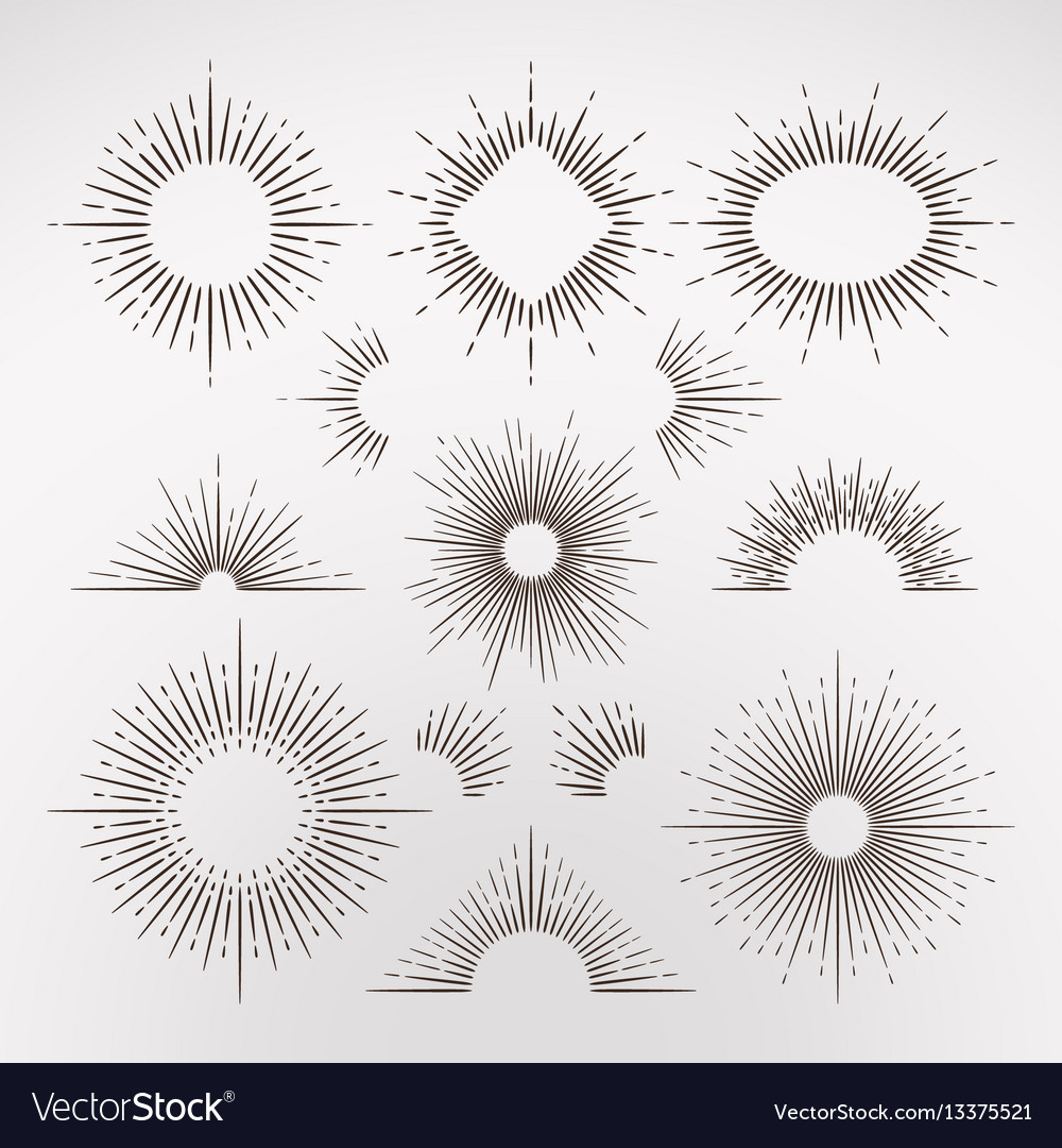Abstract sun burst rays with border and frames vector