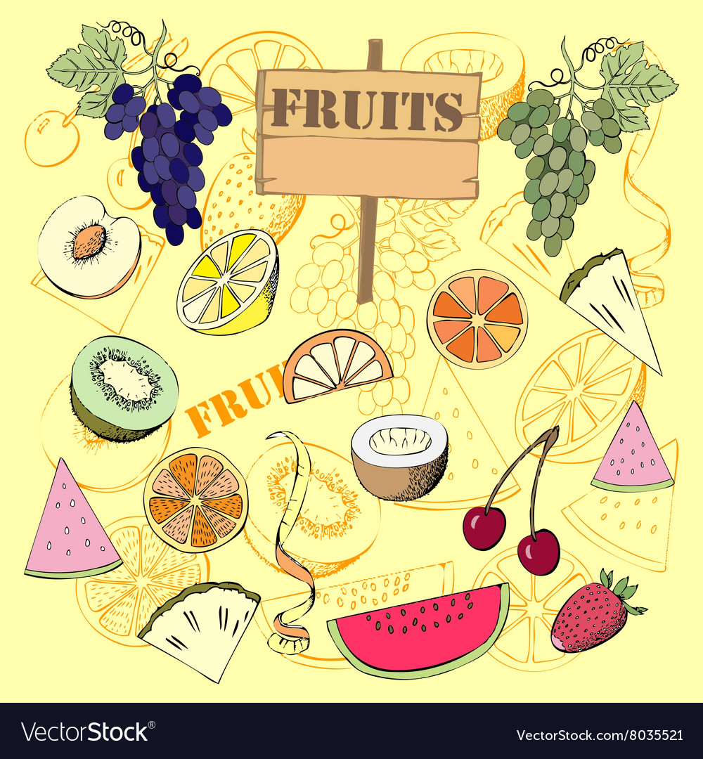 Background with fruit107 vector