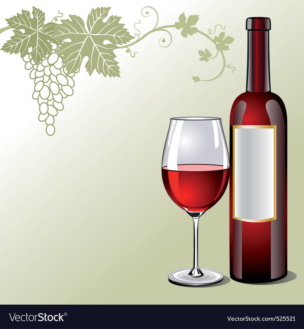 Glass of red wine with bottle vector