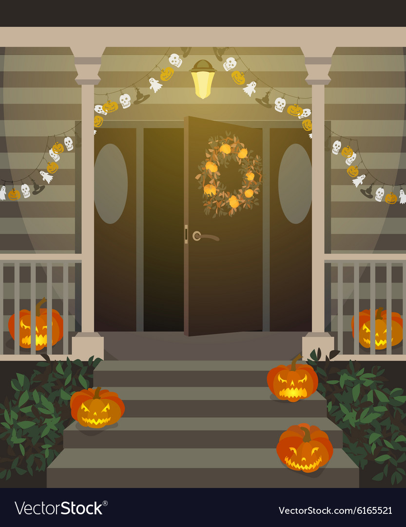 Halloween decorated front door vector