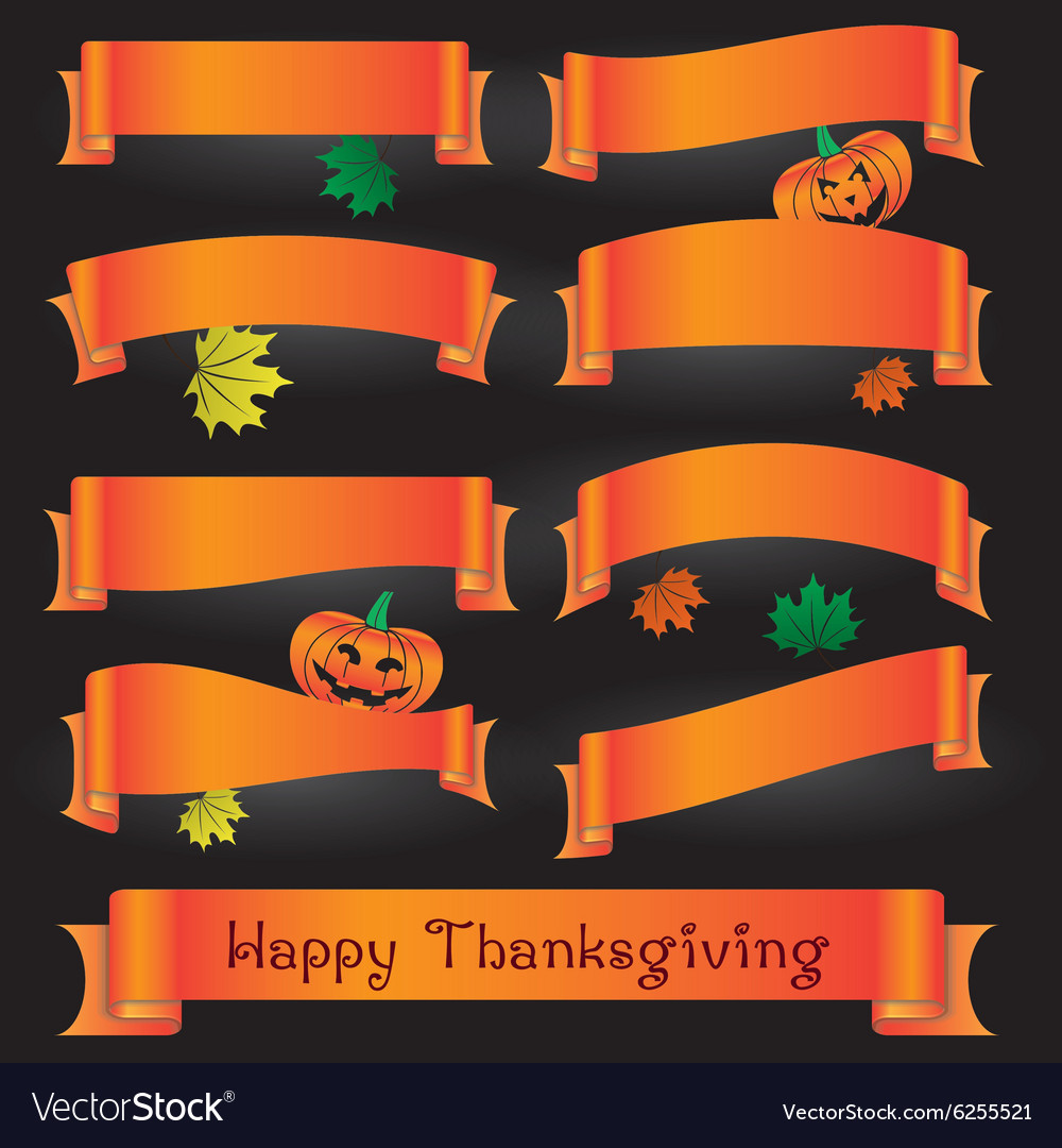 Orange various curved ribbons for happy vector