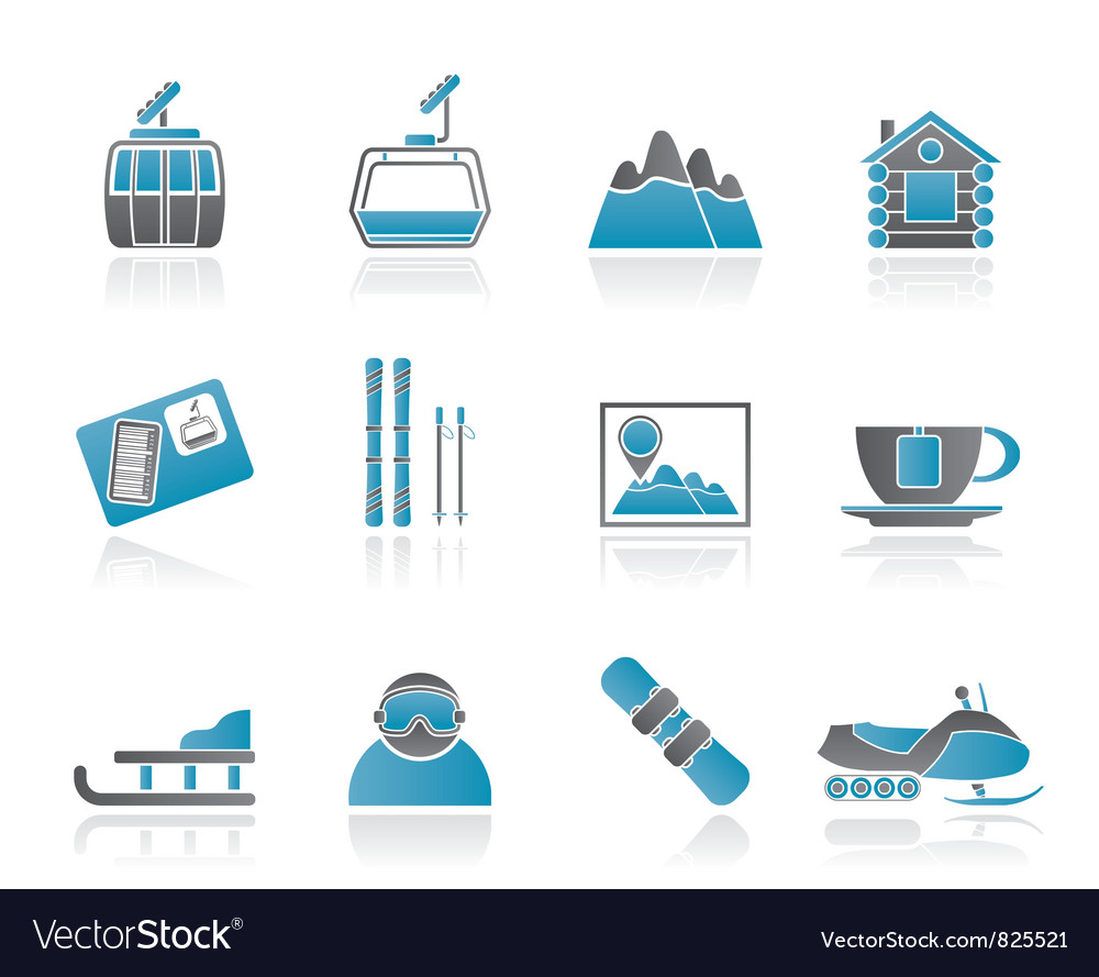 Ski track and sport icons vector