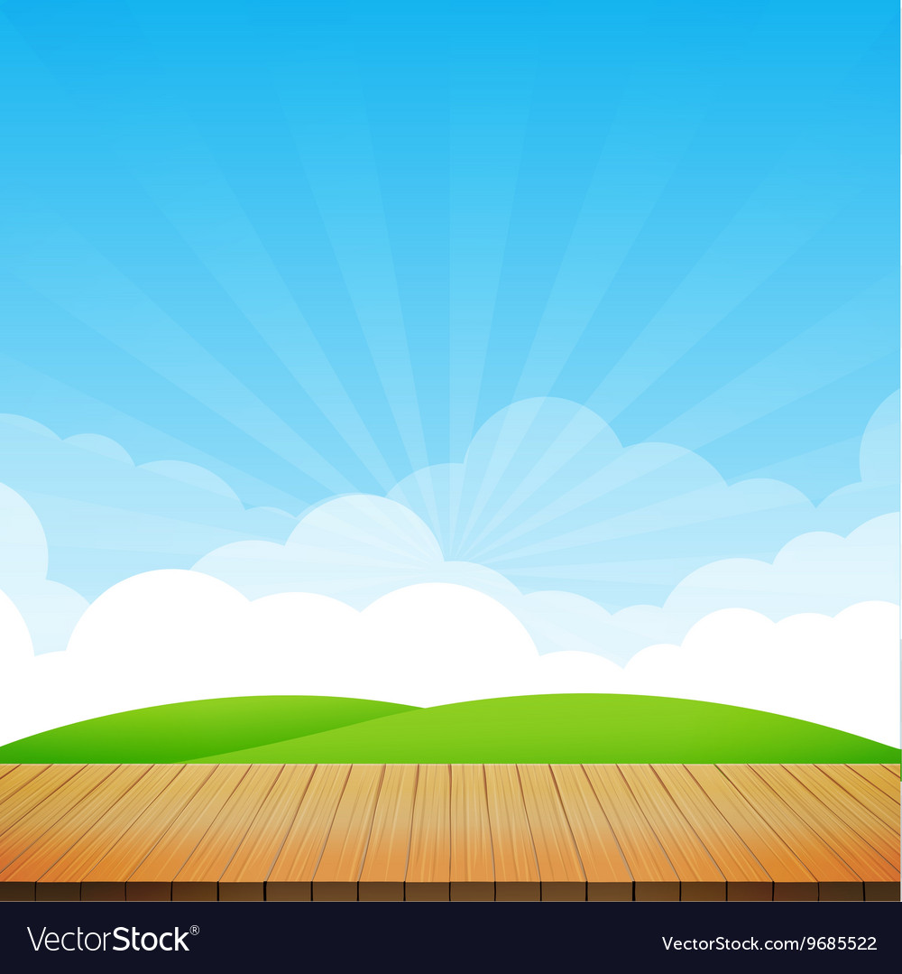 Brown wood floor with green field and blue sky vector
