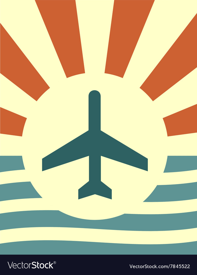 Sun rays backdrop with plane icon vector