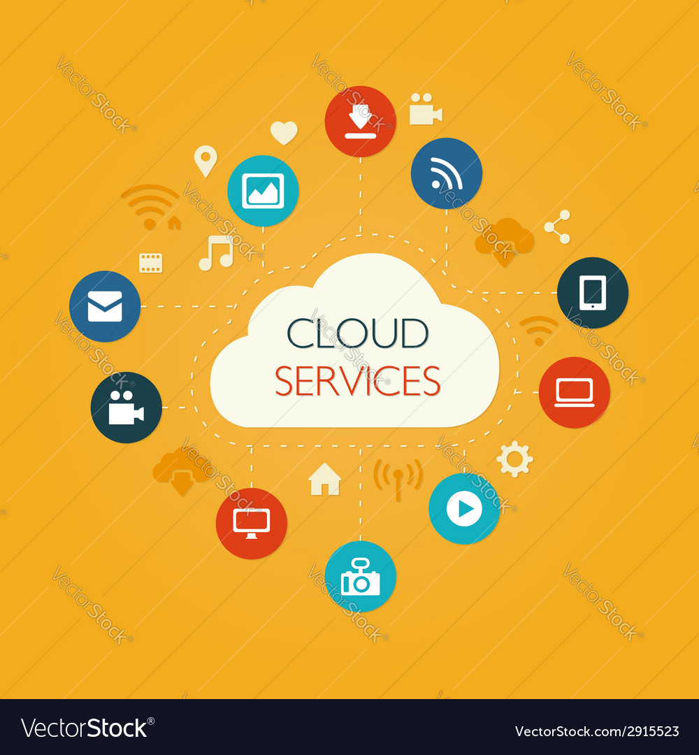 Flat design composition with cloud vector
