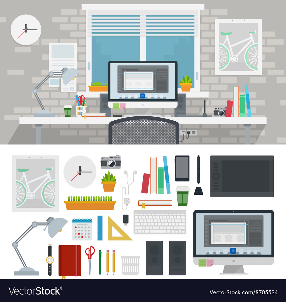 Designer cabinet full of different tools vector