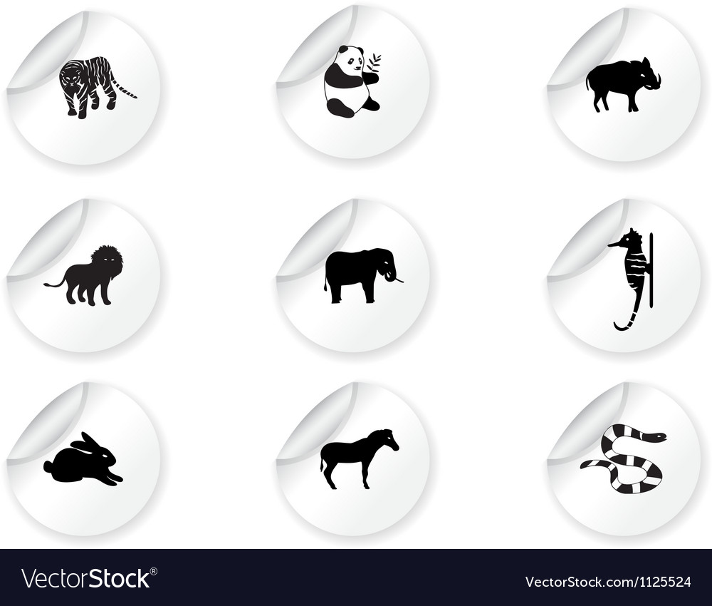 Stickers with animal icons 3 vector