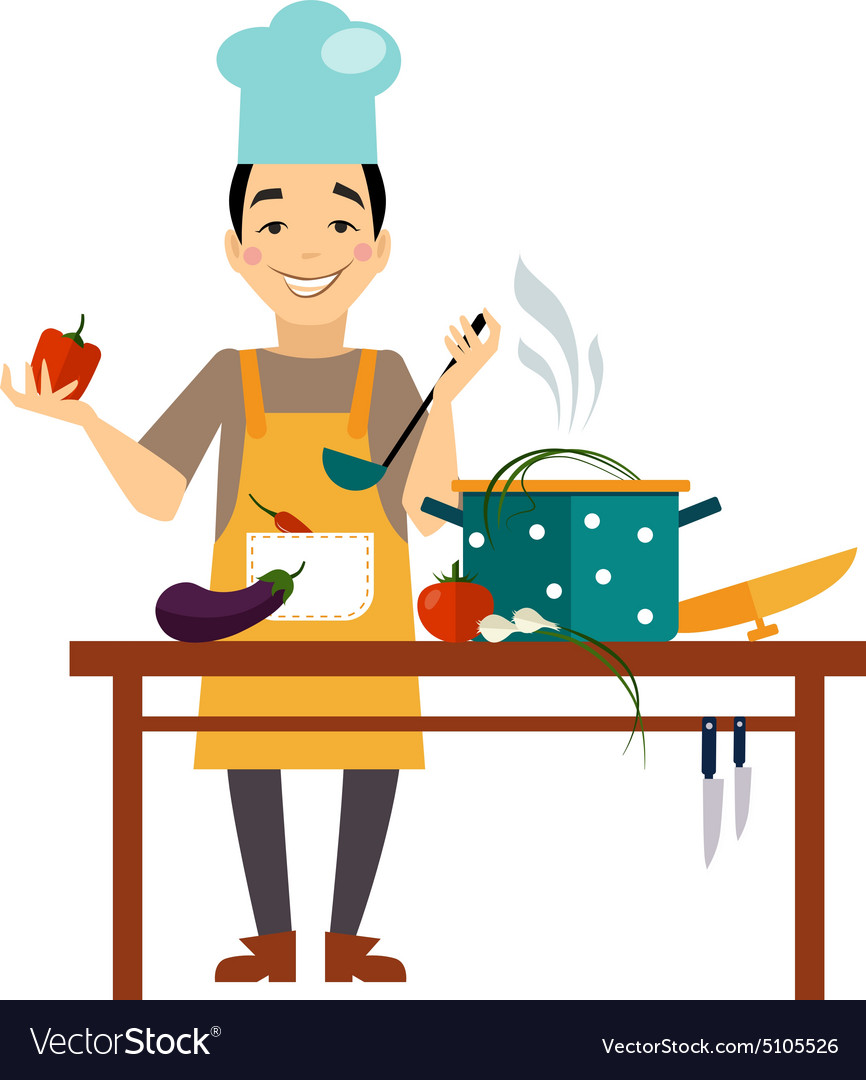 Chef cooking food vector