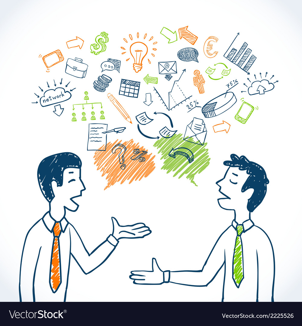 Doodle business conversation vector