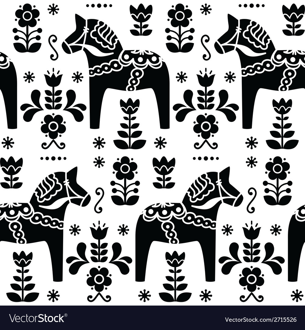 Swedish folk art dala or daleclarian horse pattern vector