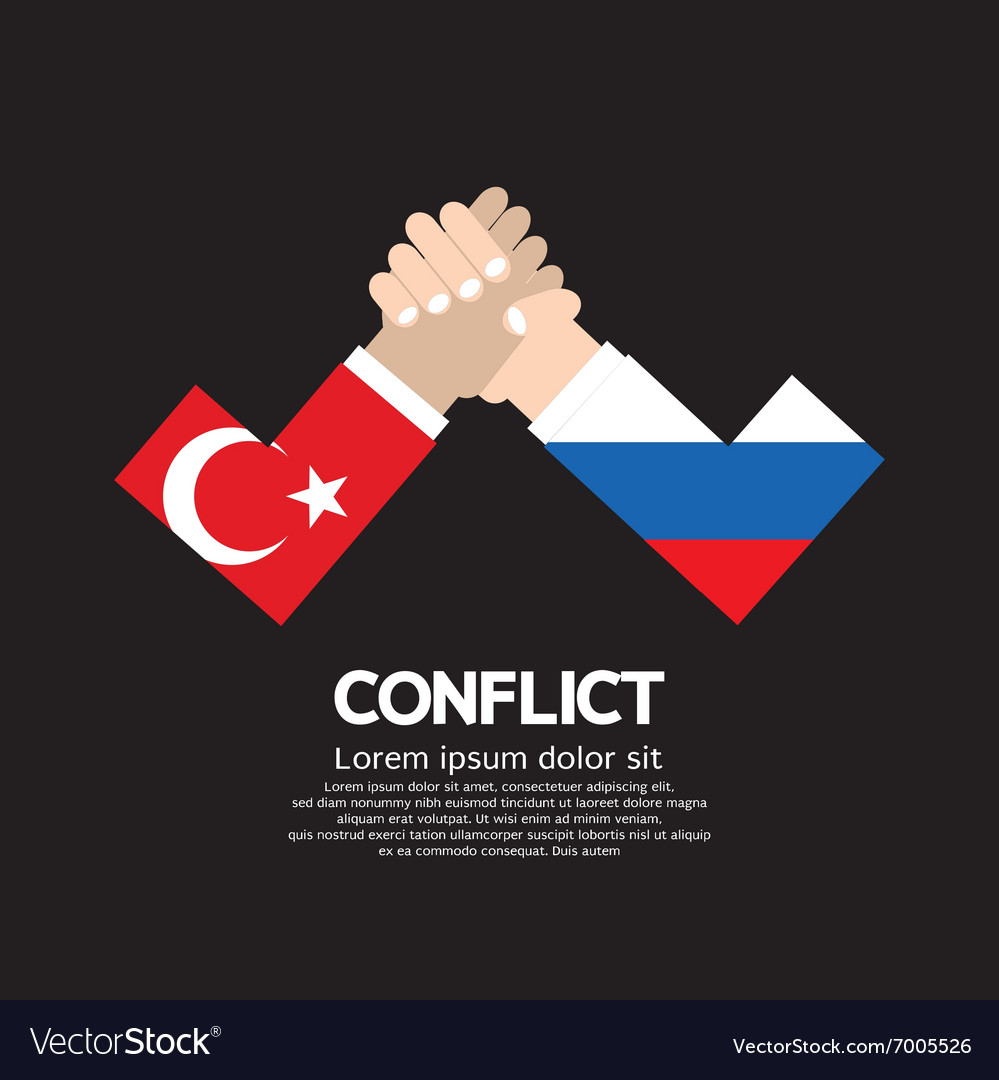 Turkey vs russia armwrestle vector