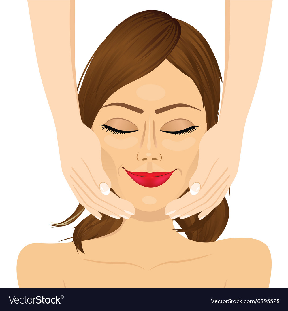 Attractive young woman enjoying facial massage vector