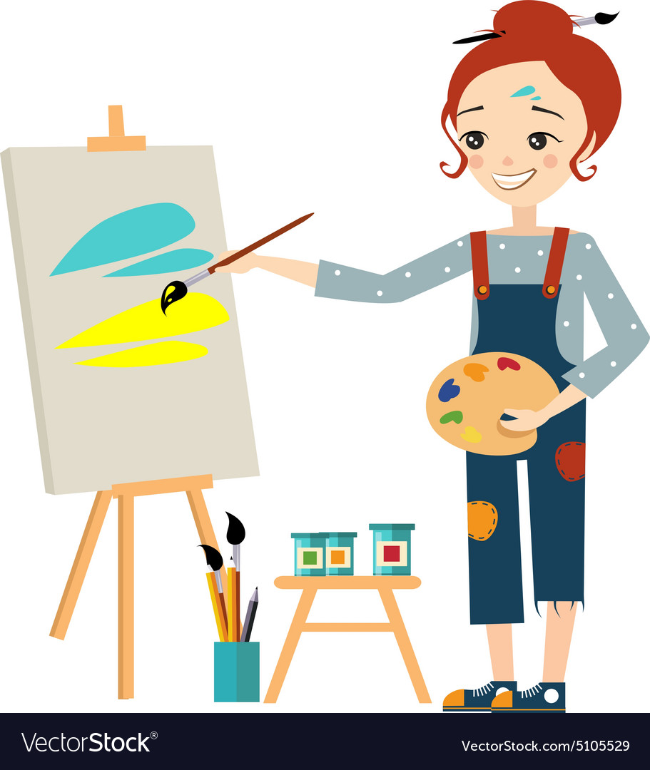 Beautiful artist woman painting on canvas vector