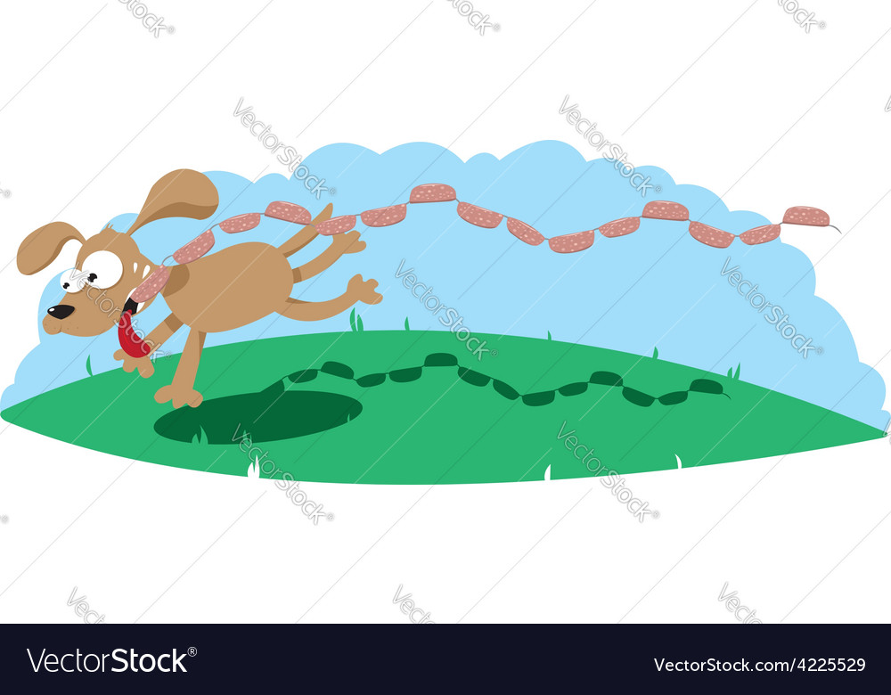 Dog and sausages vector