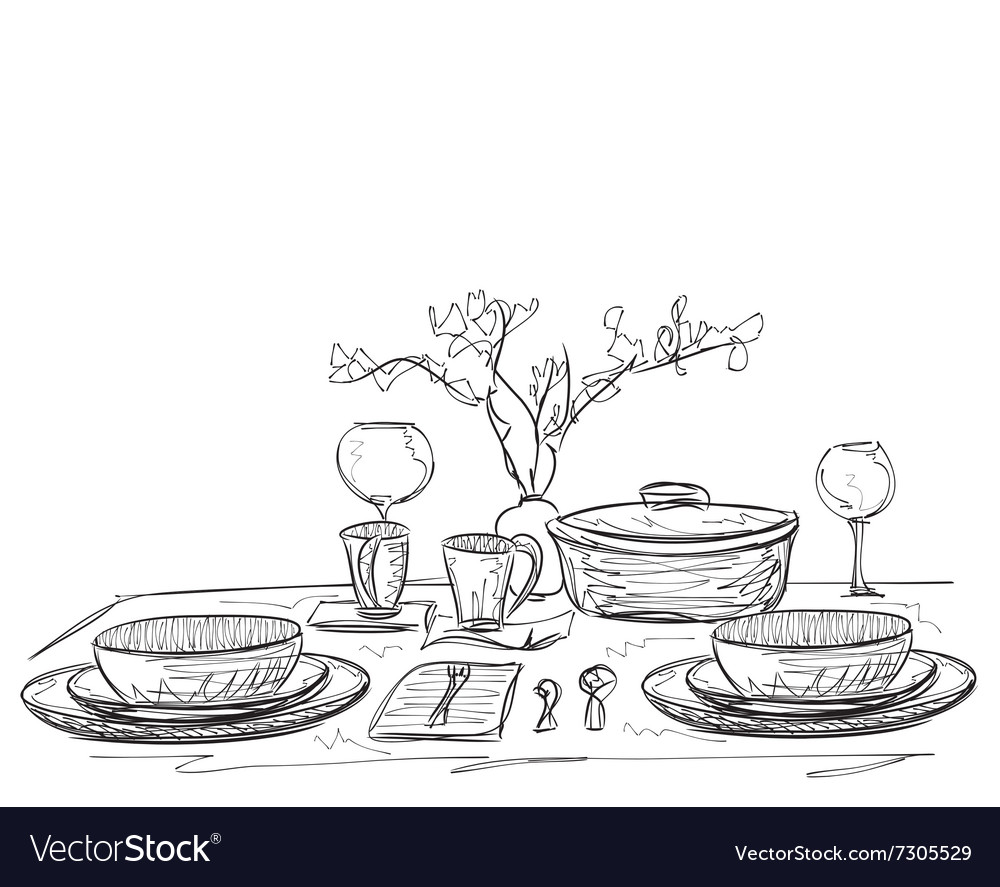 Hand drawn dinner wares vector