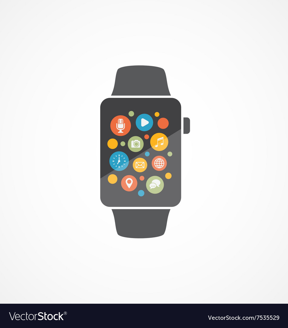 Smart watch on white vector