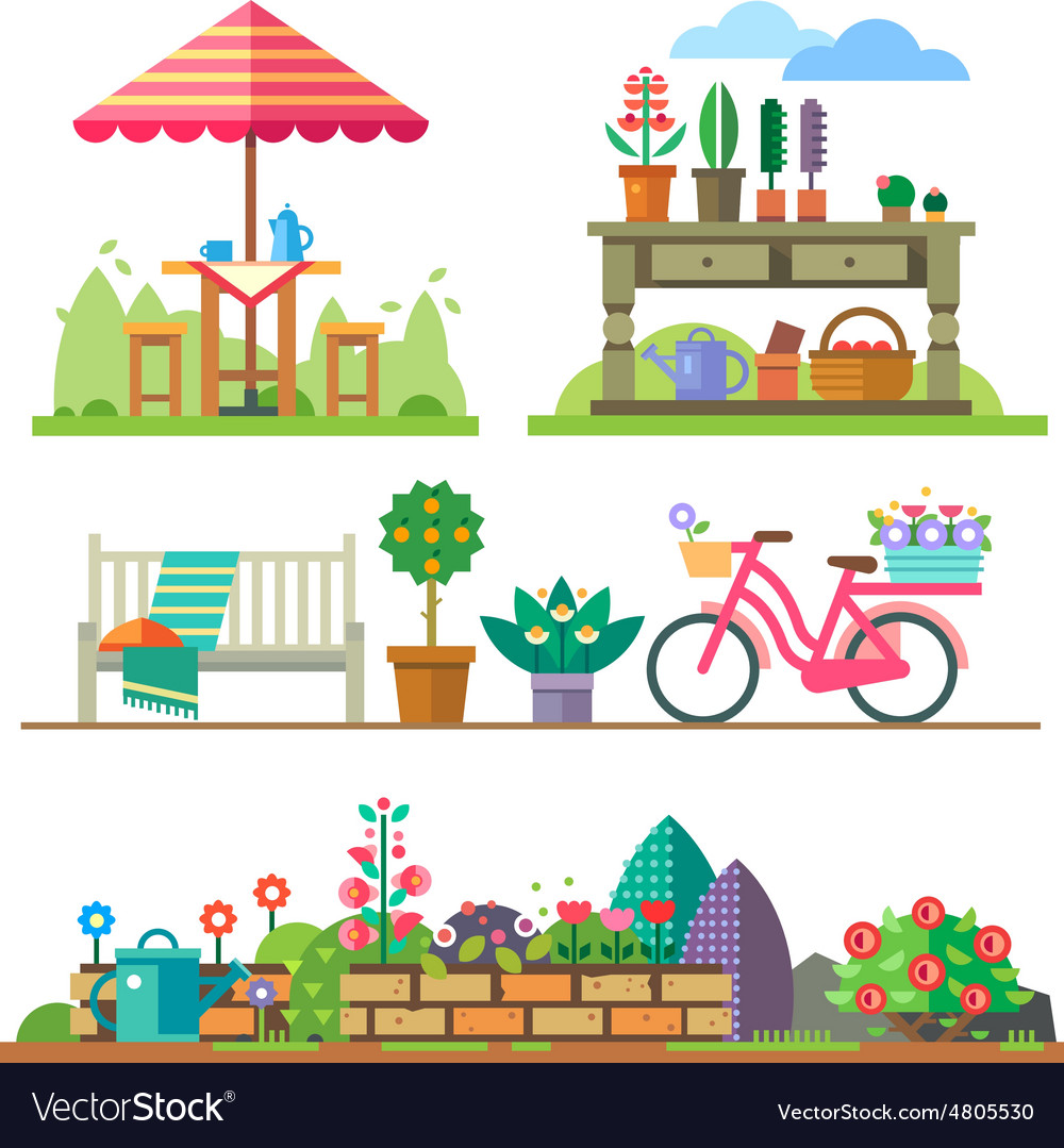 Garden landscapes summer and spring vector