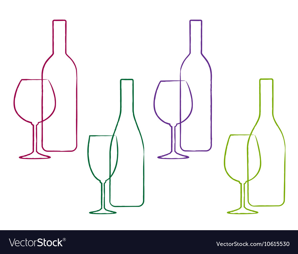 Linear wine set of bottle and glass vector
