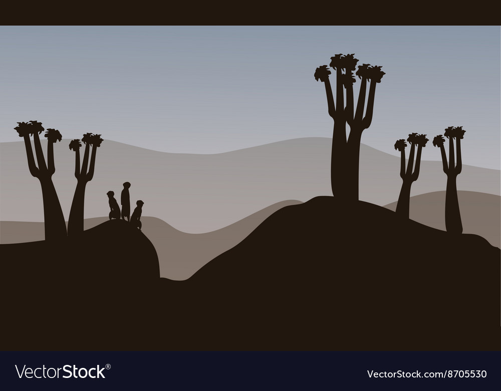 Meerkat silhouette in the hills vector