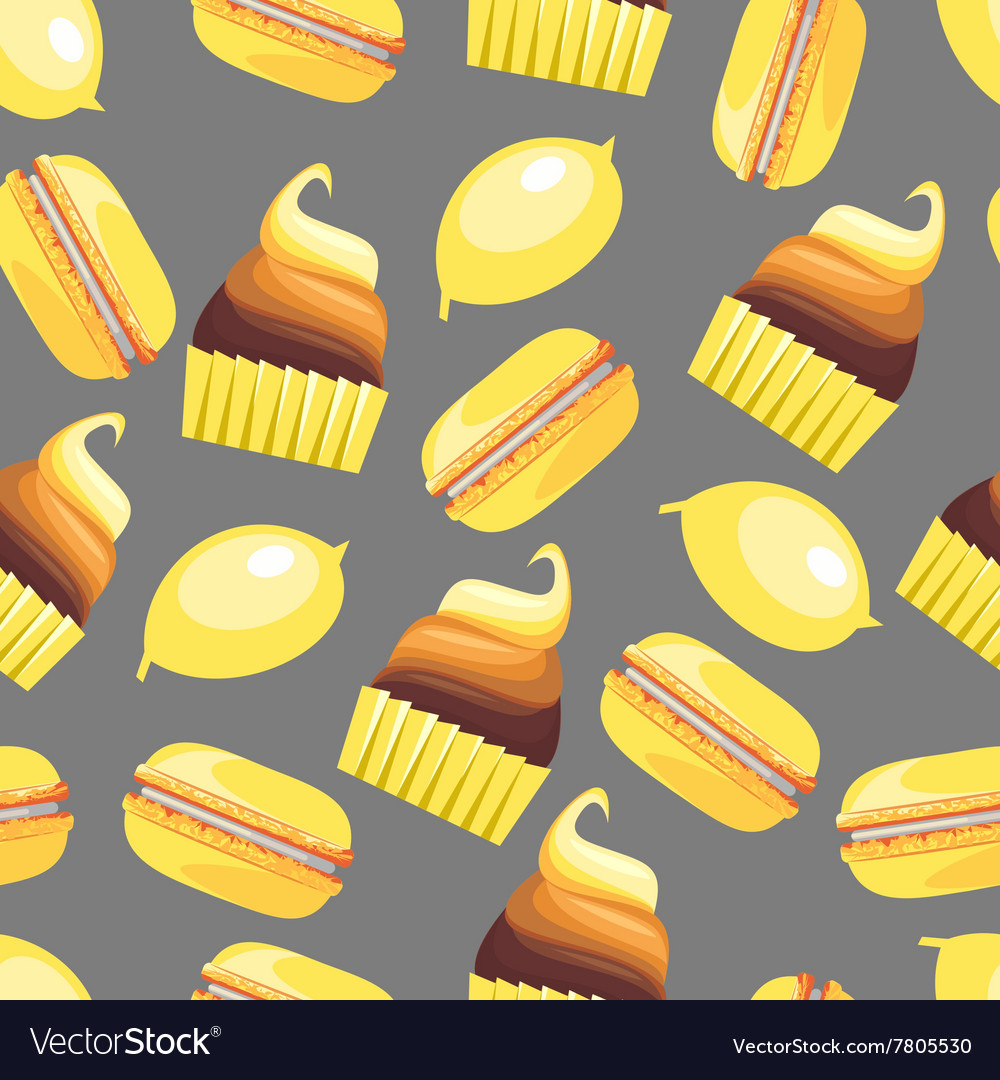 Seamless pattern with tasty macaroons cupcake vector