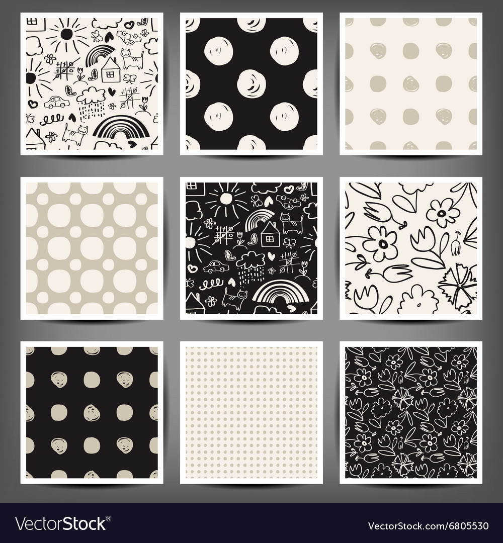 Set of graphic seamless patterns vector