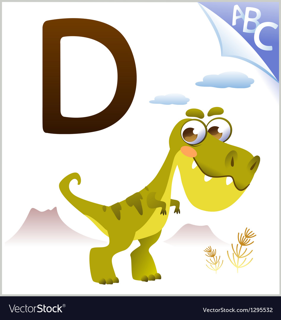 Animal alphabet for the kids d for the dinosaur vector