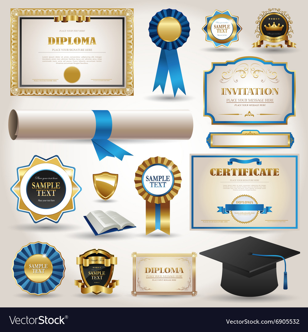 Graduation and certificate diploma elements vector