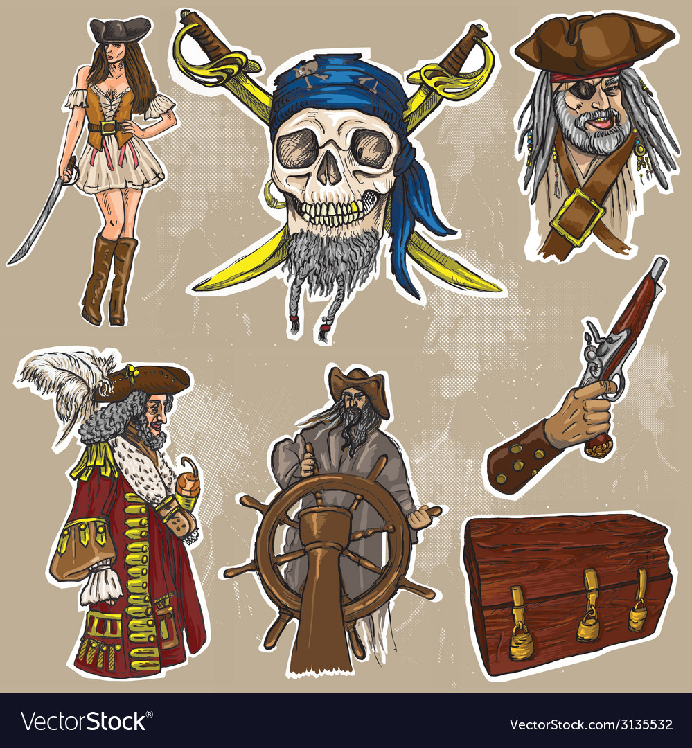 Pirates  an hand drawn colored pack no1 vector