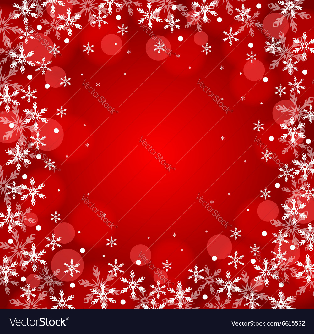 Red christmas snow background vector