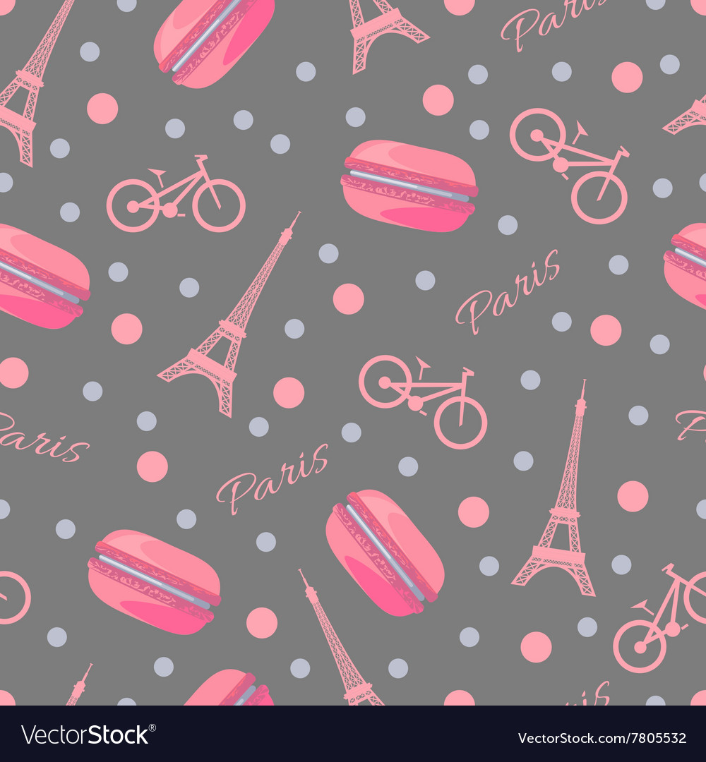 Seamless pattern with tasty macaroons eiffel vector