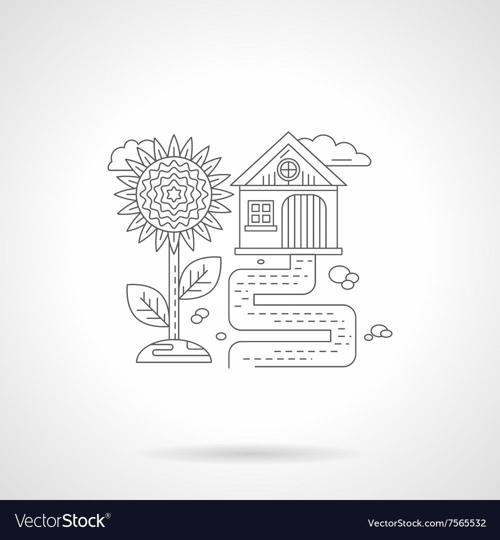 Sunflower detail line icon vector