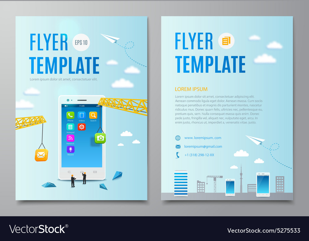 Design layout flyer construction smartphone vector