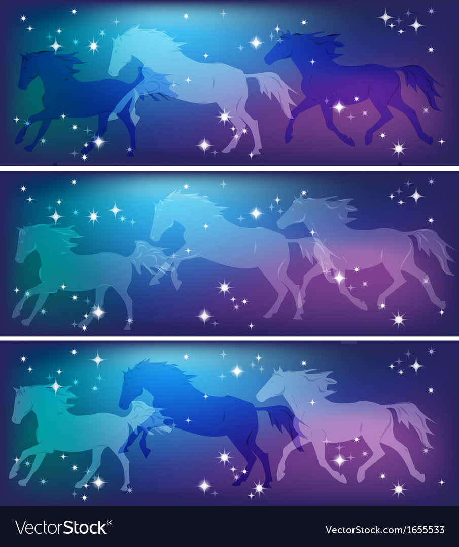 Ghostly horses on a background of the sky vector