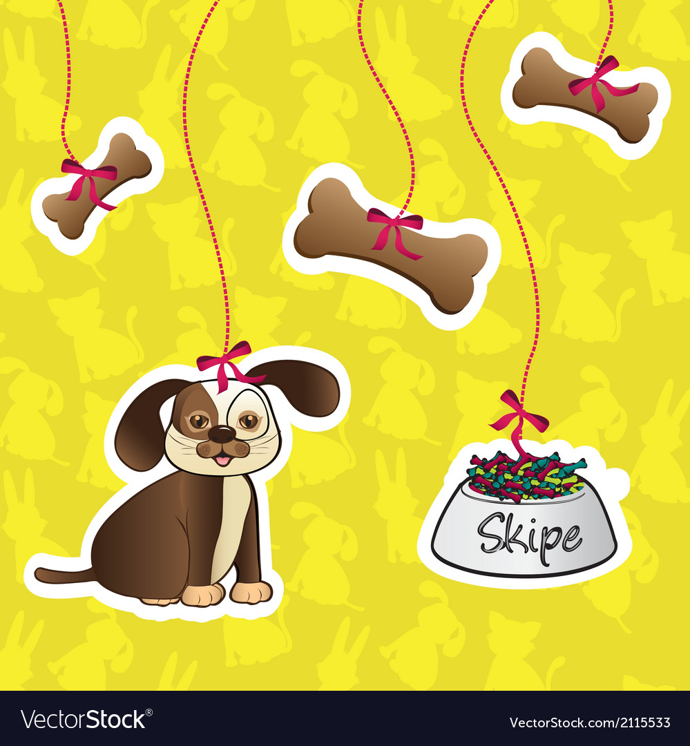 Label of dog accesories containes bones food and d vector