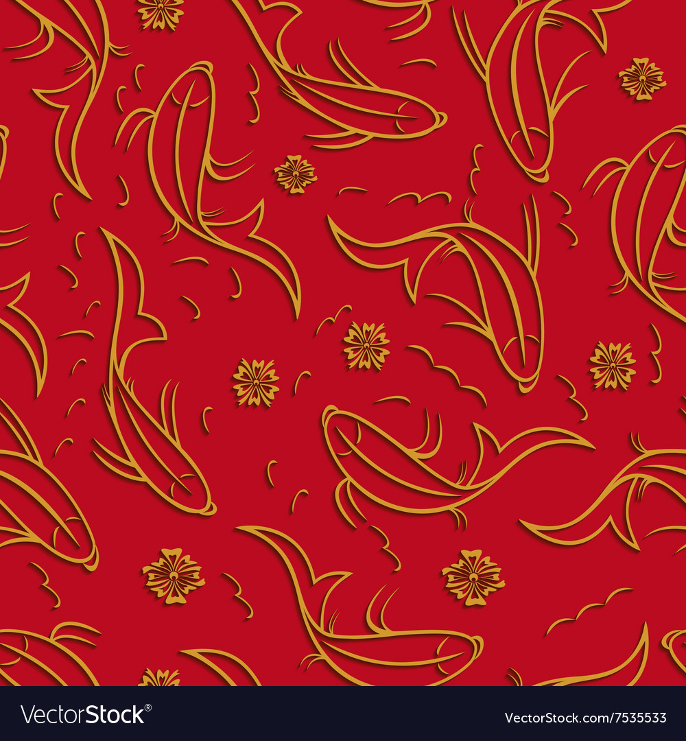 Seamless pattern with ornamental fish vector