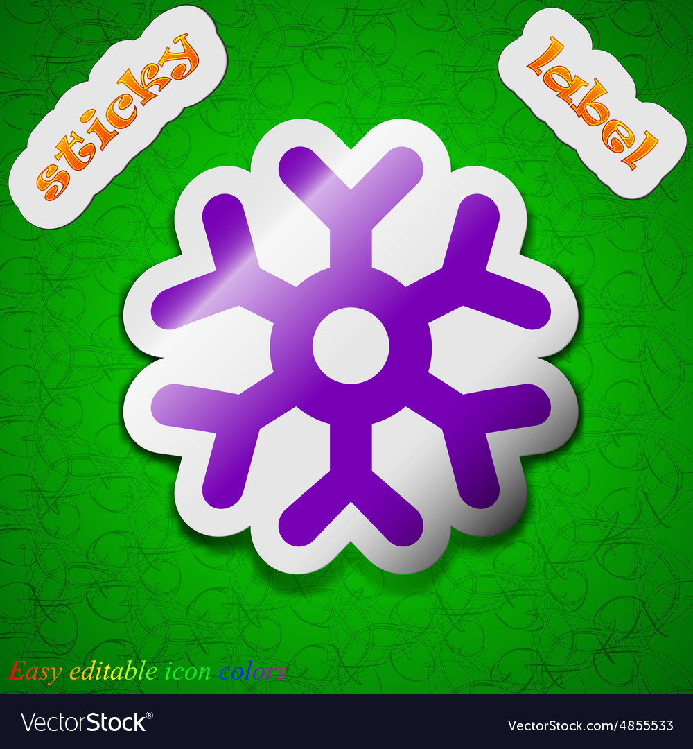 Snowflake icon sign symbol chic colored sticky vector