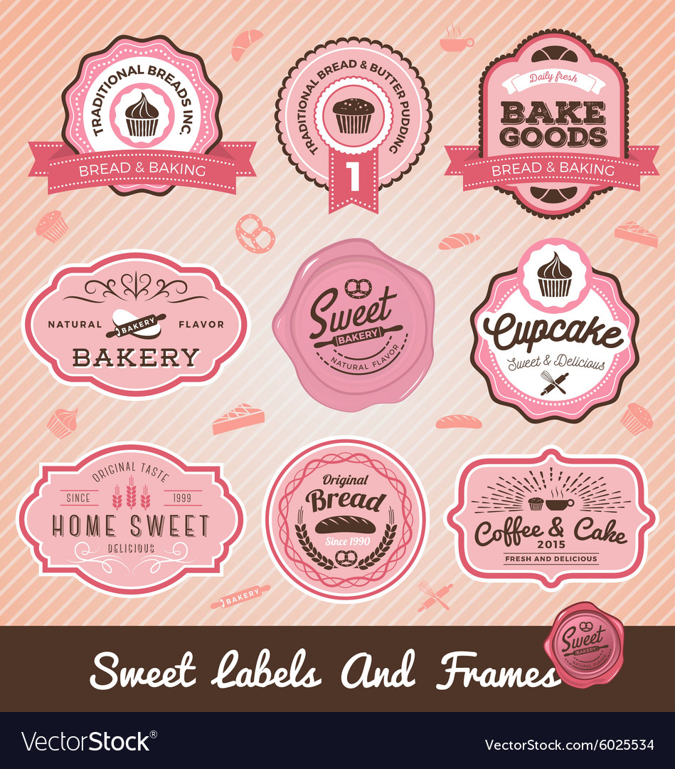 Set of sweet bakery and bread labels design vector
