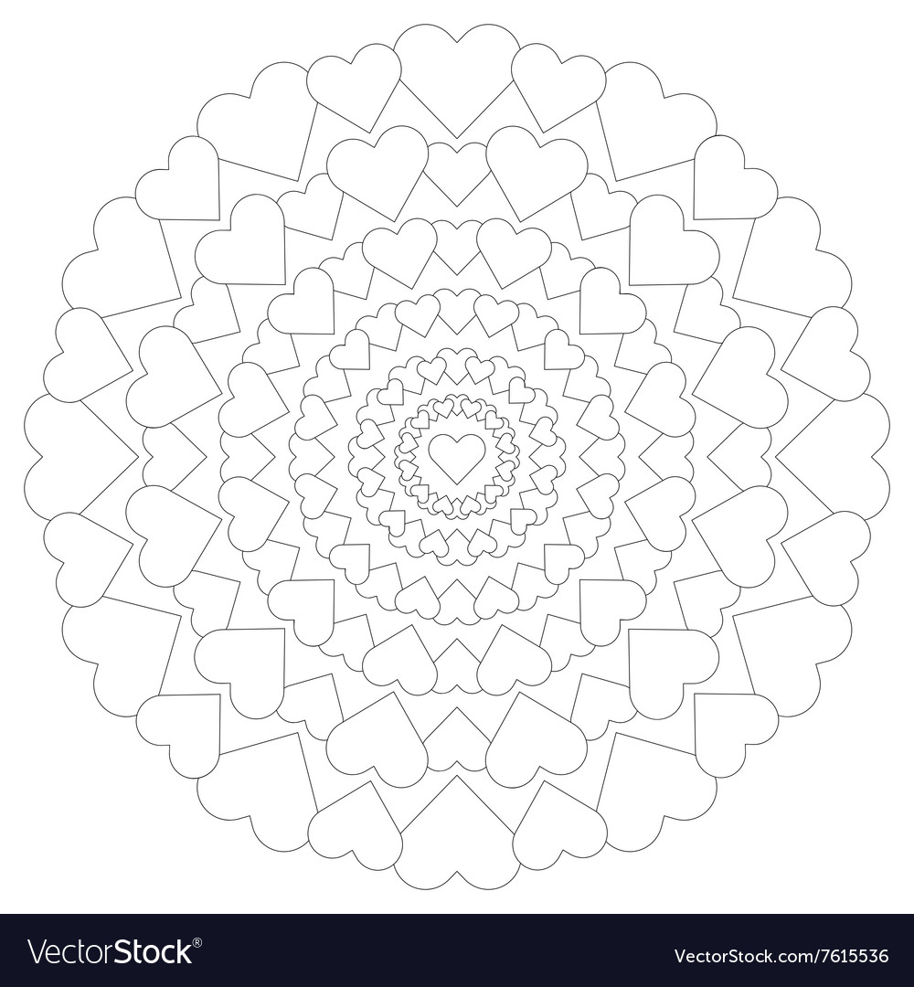 Adult coloring book loving mandala hearts black vector