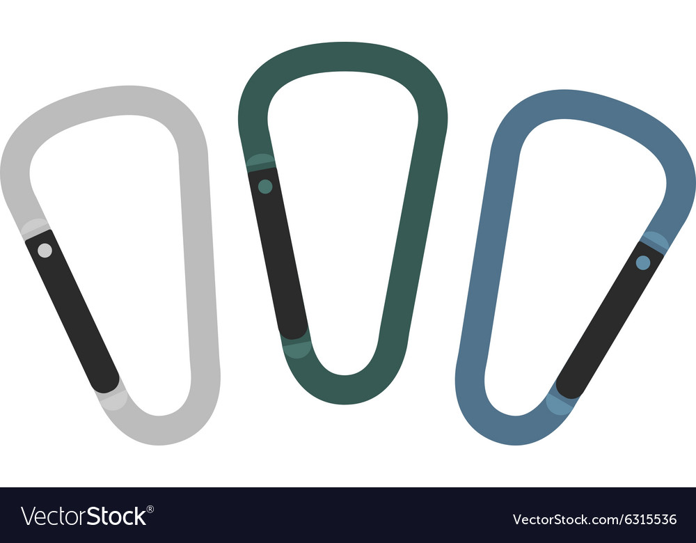 Set of carabiner icons silver green blue vector