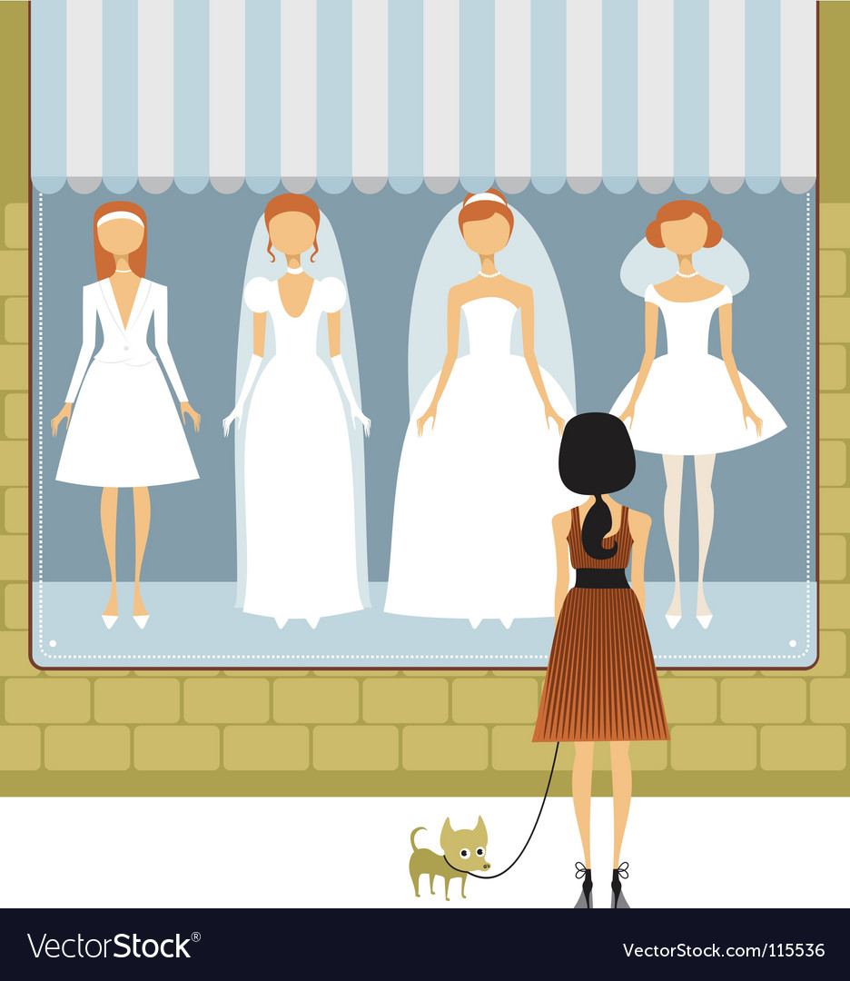 Wedding dress store vector