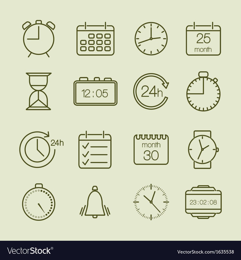 Simple time and calendar icons vector