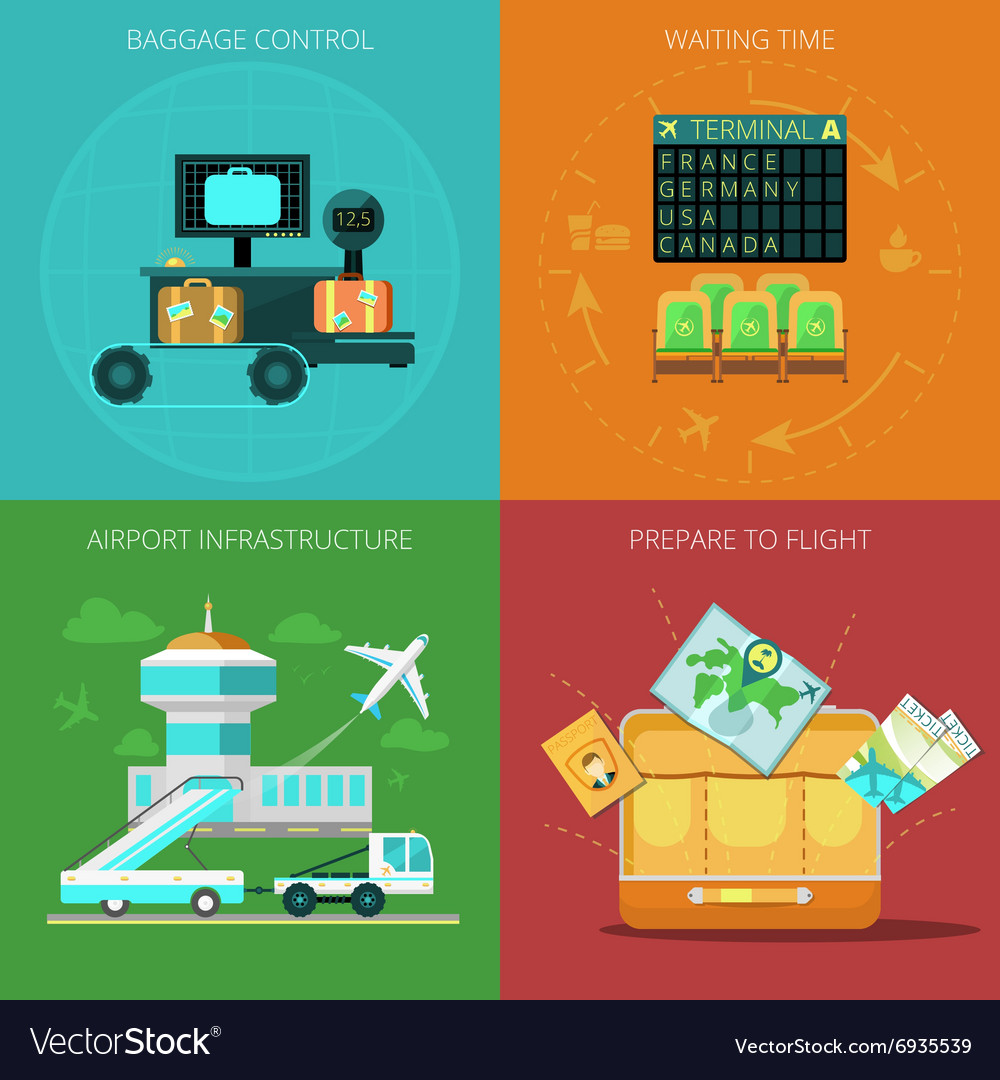Airport flat set vector