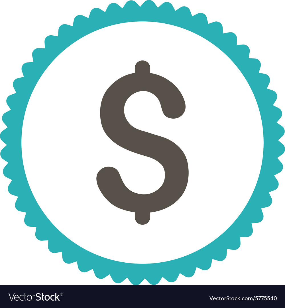 Dollar flat grey and cyan colors round stamp icon vector