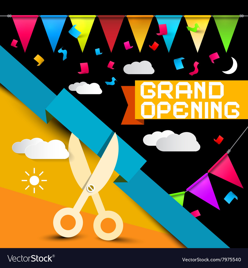Grand opening  flags with confetti  scissors vector