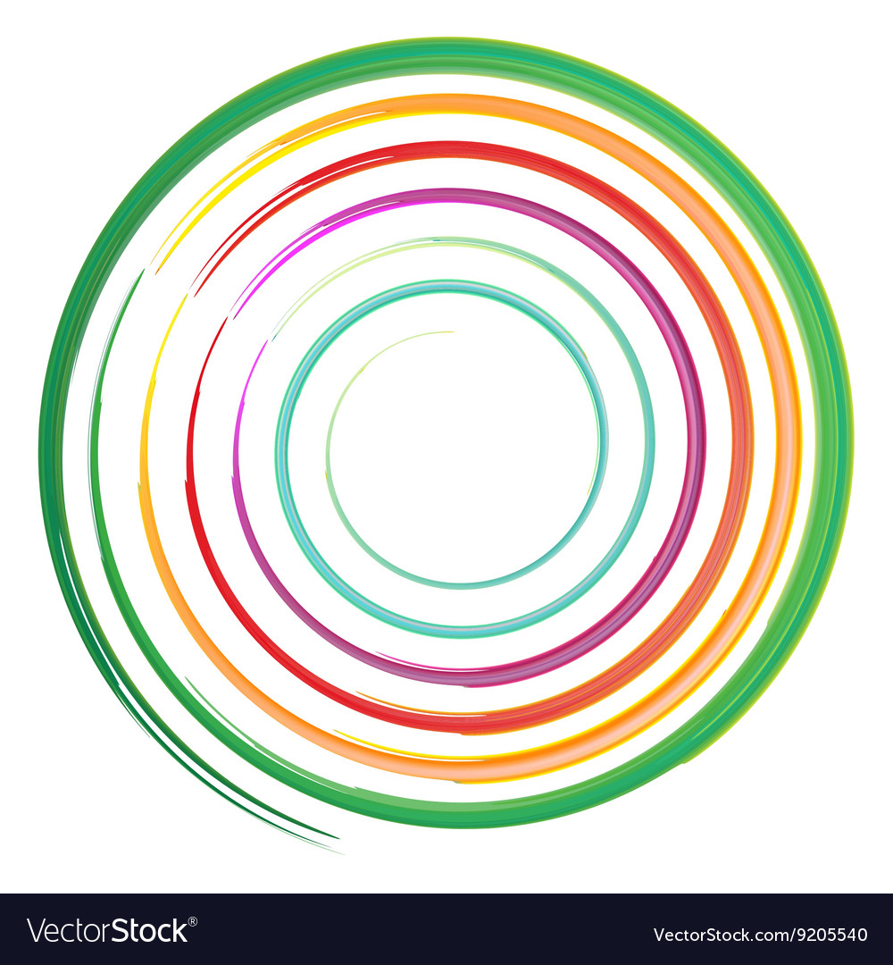 Watercolor circles rainbow vector