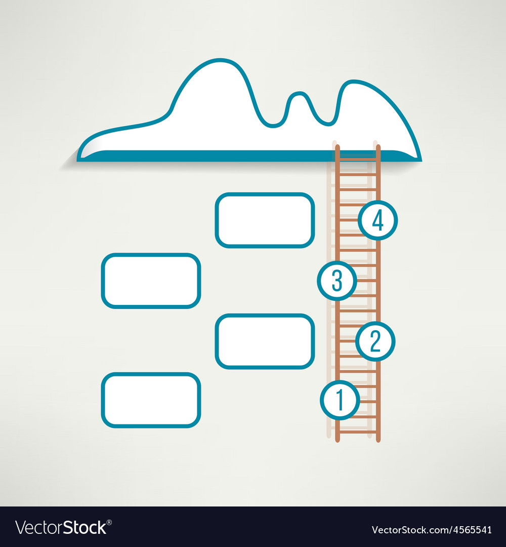 Cloud with ladder simple clean infographics design vector