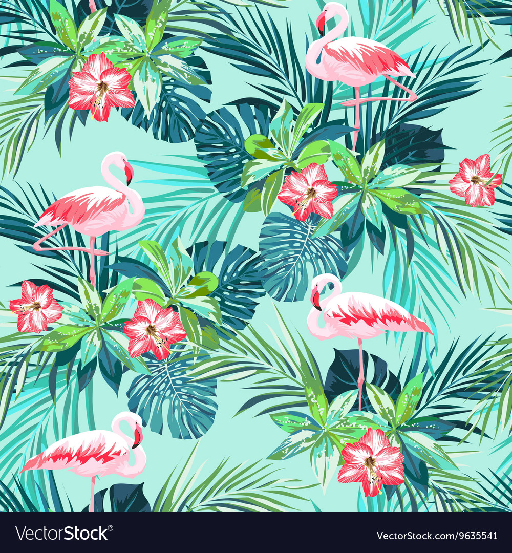 Tropical summer seamless pattern with flamingo vector