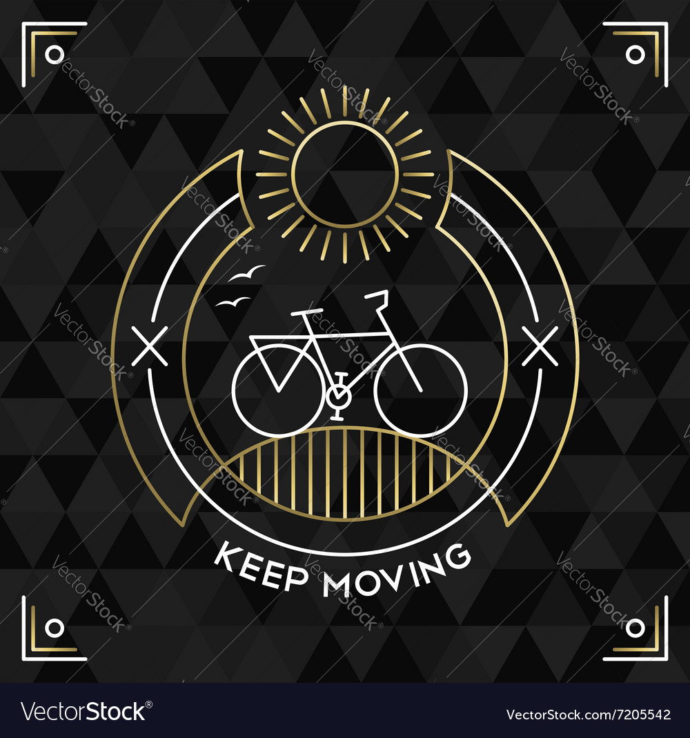 Bike concept bicycle line art outline gold vector